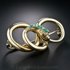 Victorian Gold and Turquoise Serpent Brooch - 50-1-4614 - Lang Antiques
