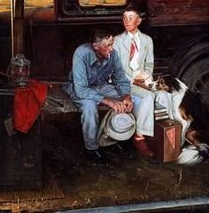 """""""Breaking Home Ties"""" by Norman Rockwell."""
