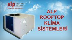 ALP ROOFTOP KLİMA SİSTEMLERİ  Rooftop klimalar olarak da isimlendirilen çatı tipi paket tipi klimalarda iç ünite ve dış ünite tek ünite haline getirilmiştir. İkinci bir ünitesi yoktur. Az yer kaplaması, hava debisinin yüksekliği gibi nedenlerden dolayı tercih edilirler. Elektrik enerjisi ile çalışırlar. Isıtma ve soğutma özellikleri vardır. Hava kanalları aracılığı ile istenilen mekanlara şartlandırılmış hava dağılımı yapılır.