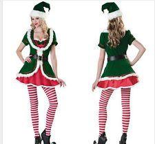 Ladies Christmas Elf Costume Santa Helper Cute Xmas Fancy Dress Party Outfit