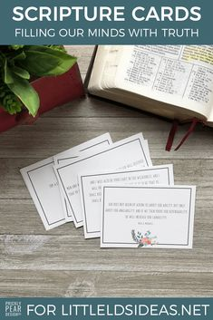 These scripture cards are perfect to print and tape to a mirror, tuck in a planner, or print and give to a friend. Created by Prickly Pear Design Co. for Little LDS Ideas Lds Scriptures, Scripture Cards, Scripture Study, Bible, Prayer Cards, Relief Society Lessons, Relief Society Activities, Fhe Lessons, Object Lessons