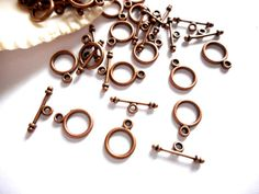 10 Antique Copper Toggle Clasps - 16-17 by TreeChild1 on Etsy