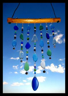 Tiered Beach Glass Windchime / Mobile by mexicobeachgirl on Etsy