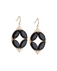 Jamie Wolf Marquise Oval Onyx & Diamond Point Earrings