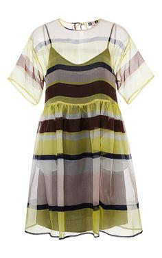 Silk Sheer Striped Dress by MSGM Now Available on Moda Operandi