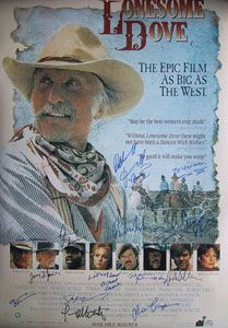 LONESOME DOVE extremely limited edition poster cast signed by Robert Duvall, Robert Urich (d.), Tommy Lee Jones, Rick Schroeder, Danny Glover, Anjelica Huston, Diane Lane, DB Sweeney, Frederic Forrest, Glenne Headly, Barry Corbin, Steve Buscemi, Chris Cooper, Tim Scott, William Sanderson & author Larry McMurty. Glenne Headly, Tim Scott, Predator 2, Danny Glover, Lonesome Dove, Epic Film, Anjelica Huston, Steve Buscemi