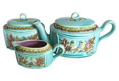One Kings Lane - Calling All Collectors - Antique Majolica Tea Set w/ Birds, 3 Pcs