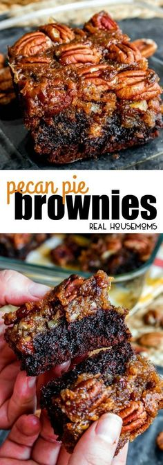 These Pecan Pie Brownies are a chocolaty twist on the traditional pecan pie! The… These Pecan Pie Brownies are a chocolaty twist on the traditional pecan pie! They make a great Thanksgiving dessert but I like making them all year long! via Real Housemoms Pecan Recipes, Sweet Recipes, Cooking Recipes, Brownie Mix Recipes, Pumpkin Recipes, Recipes With Pecans, Cooking Cake, Pie Recipes, Fun Desserts