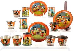 Collection of Mickey Mouse Tin Dishes - 1930's