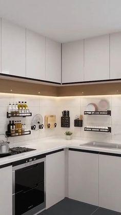 Kitchen Cupboard Designs, Kitchen Room Design, Luxury Kitchen Design, Contemporary Kitchen Design, Interior Design Kitchen, Minimal Kitchen Design, L Shaped Kitchen Designs, Minimalistic Kitchen, Bedroom Cupboard Designs