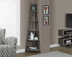 Monarch Specialties Dark Taupe Reclaimed-Look Corner Accent Etagere, 5 tray style shelves Contemporary piece used as bookcase in an office or as an accent in your living room Contemporary design Blends well with any décor Living Room Furniture, Living Room Decor, Bedroom Decor, Corner Furniture, Shelf Furniture, Master Bedroom, Furniture Layout, Furniture Outlet, Furniture Arrangement