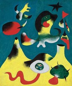 """Another auction from the collection - the canvas Joan Miro ( 1893-1983) """"Air"""" in 1938 - a surreal landscape with blue sky and yellow hills, reminiscent of Spain (estimate of 12-18 million dollars). Description from artinvestment.ru. I searched for this on bing.com/images"""