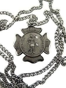 "Silver 100% Pewter Maltese Cross Saint Florian Pendant Necklace Firefighter 27"" . $19.25. Gift Box: Yes. Pendant: 1"" H. Material: Pewter Medal. Chain: 27"" Endless"