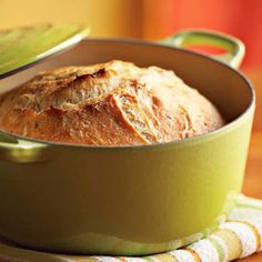 This bread is almost effortless to make because it requires no kneading. Instead, the dough is allowed to slowly rise over a long period of time. Then it is baked in a preheated covered cast-iron pot, which helps produce a crispy, bakery-style crust on the finished loaf.