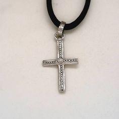 White Gold Cross Iosif with a Diamond. Pink And Gold, White Gold, Cross Jewelry, Gold Cross, Crosses, Symbols, Jewellery, Yellow, Diamond