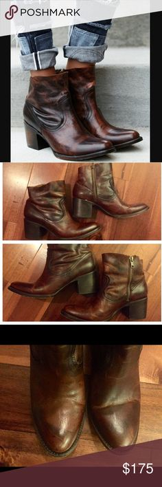 "Freebird salt bootie Sold at Free People- these are a dark cognac color. Worn once. The left shoes does have a crease on the toe from wear. Has a great pointed toe and stacked 2.75"" heel. Raw top line and side zipper. Great condition Free People Shoes Ankle Boots & Booties"