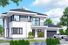 Projekt domu Telmun 2 167,08 m2 - koszt budowy - EXTRADOM Construction Cost, Big Windows, Plans, Home Fashion, House Design, Mansions, House Styles, Home Decor, Homes