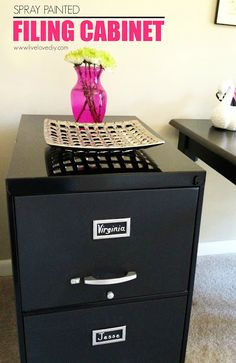 Spray Paint Your Filing Cabinet.high Gloss Black All Around Chalkboard  Black On Fronts Of Drawers    10 Spray Paint Tips: What You Never Knew  About Spray ...