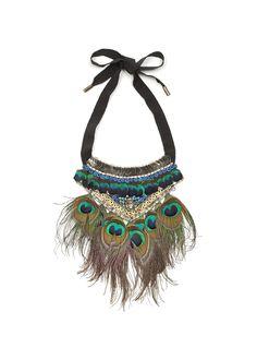 Matthew Williamson Peacock Feather Necklace #diy #necklace #peacock #feather #sequin #fashion
