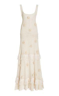 Off White Dresses, Pretty Dresses, Knit Dress, Feminine, Knitting, Floral, Fashion Design, Clothes, Women