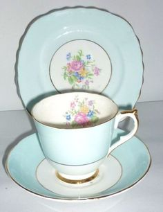 English Vintage China Tea Set Tea Cup Trio Baby Blue flowers