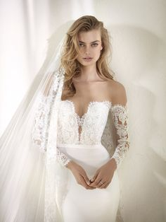 Vestido de novia manga transparente