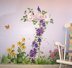 Hand Painted Wall Murals of gardens | childrens-murals-flower-garen-signpost-with-name