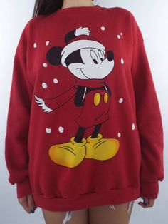 Vintage 90s Red Mickey Mouse Holiday Sweatshirt - Total Recall Vintage