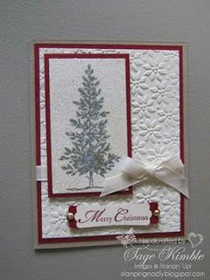 Lovely as a Tree Christmas Card from Stamping Madly Stamped Christmas Cards, Simple Christmas Cards, Christmas Card Crafts, Homemade Christmas Cards, Christmas Cards To Make, Xmas Cards, Homemade Cards, Stampinup Christmas Cards, Cards Diy
