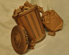 trashcan Cardboard trash can in cardboard with Trash garbage Cardboard Can Cardboard Train, Cardboard Paper, Cardboard Crafts, Cardboard Furniture, Recycled Art Projects, Recycled Materials, Recycling Projects, Cardboard Recycling, Cardboard Sculpture