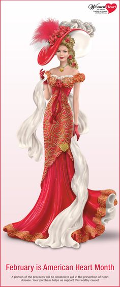 Limited-edition Dona Gelsinger heart health awareness figurine. Sculptural roses, filigree and real feathers. Portion of proceeds donated!
