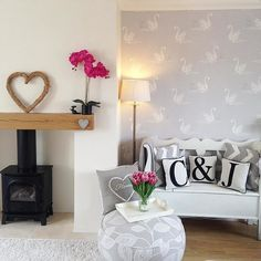 Laura Ashley Swan Wallpaper, and letter cushions - Advanced Interior Designs Style Living Room Grey, Living Room Interior, Home Living Room, Living Room Designs, Living Room Decor, Living Room Inspiration, Home Decor Inspiration, Trendy Living Room Wallpaper, Cottage Shabby Chic