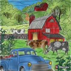 Creative Haven Coloring Books, Country Farm, Drawing Techniques, Cows, Pencil Drawings, Colored Pencils, Houses, Painting, Art