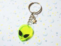 Acrylic Alien Keychain Outer Space Alien by StarrySkiesOpenMinds