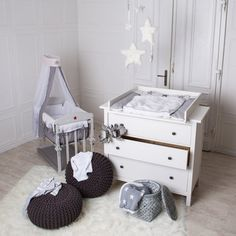 Handmade Baby Changing set in white for all IKEA Hemnes dressers with a depth of 50-51cm .  The changing TOP are made that they can be placed easily on the dresser , without damaging them . Thus, the dresser can be used as normal after removal of the changing TOP.  Behind the dresser , a gap of about 20 cm , the ideal can be used as storage space .  The changing mat sets are made of coated chipboard ( saliva and toys suitable for children ) , so that it visually almost matches the…