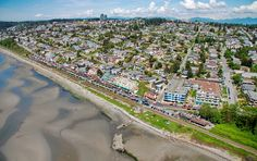 Gorgeous #WhiteRock Aerial Photo - OCEAN VIEWS from the Hillside Homes of East Beach Ocean Views, Aerial Photography, Vancouver, Paris Skyline, City Photo, Homes, Rock, Gallery, Beach
