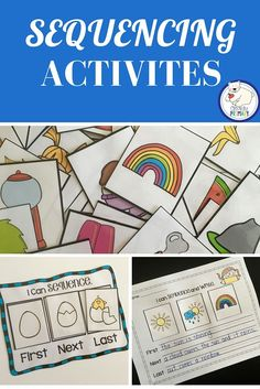 Sequencing Activities: Sequencing mat and cards.  Cut and paste worksheets included.