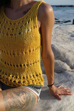 Yellow Beach Top Yellow Clothing Bamboo Clothing Marigold | Etsy Summer Knitting, Baby Knitting, Vegan Clothing, Crop Top Sweater, Beach Tops, Knitting Designs, Summer Tops, Crochet Top, Summer Outfits