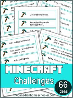 Minecraft offers so many educational opportunities - from learning about geology, to design and coding, and just plain fun. Check out these challenge cards! Minecraft Classroom, Minecraft Activities, Minecraft Challenges, Minecraft School, Minecraft Ideas, Classroom Ideas, Minecraft Projects, Minecraft Crafts, Minecraft Party