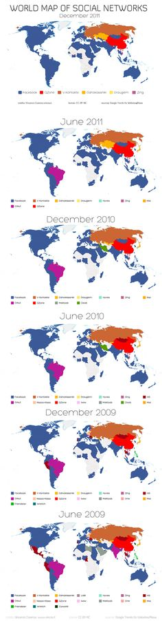 World Map of Social Networks (Time evolution)