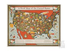 A Food Map of the United States Giclee Print at Art.com