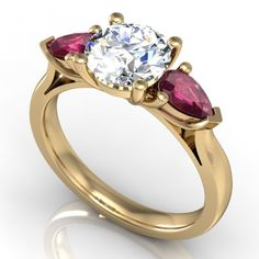 51855 - Alba Rose, diamond ruby and gold engagement ring