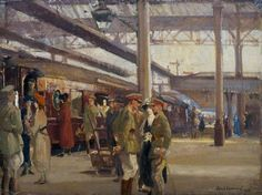 First Study for 'The Staff Train at Charing Cross Station' by Alfred Robert Hayward 1918.