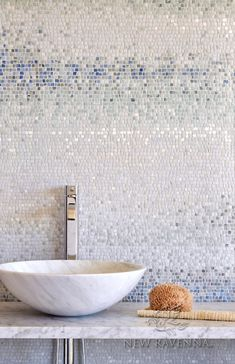 Mist, a handmade mosaic shown in tumbled Ming Green, Kays Green, Celeste, Calacatta, Blue Macauba and Lettuce Ming, is part of the Metamorphosis Collection by Sara Baldwin for New Ravenna.<br /> <br /> Take the next step: prices, samples and design help, http://www.newravenna.com/showrooms/