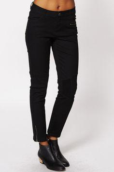 Black Zip Ankle Biker Jeans Ex-Branded
