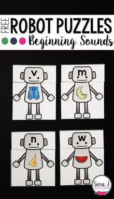 Robot themed beginning sounds puzzles. Fun ABC game for preschool or kindergarten!