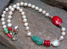 natural turquoise, red coral, freshwater pearls, with kht sterling