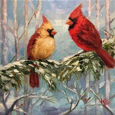 Krista Eaton Gallery of Original Fine Art Cardinal Paintings, Bird Paintings On Canvas, Bird Artwork, Mini Paintings, Cardinal Tattoos, Daisy Art, Watercolor Bird, Vintage Birds, Beach Art