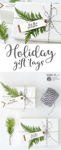 DIY Holiday Gift Tags made with a Cricut Explore Air by Boxwood Ave. forMake simple Christmas gift tags for simple gift wrapping that looks amazing!