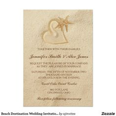 Beach Destination Wedding Invitation Sand & Heart